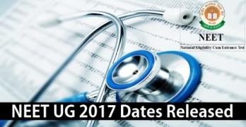 NEET UG 2017 Exam Dates