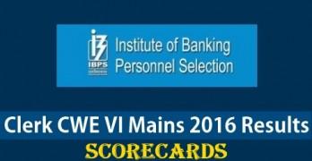 IBPS Clerk Mains 2016 Result