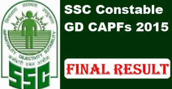 SSC Constable GD CAPFs Exam 2015 Final Results