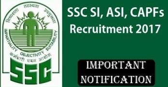 SSC SI, ASI, CAPFs Recruitment 2017