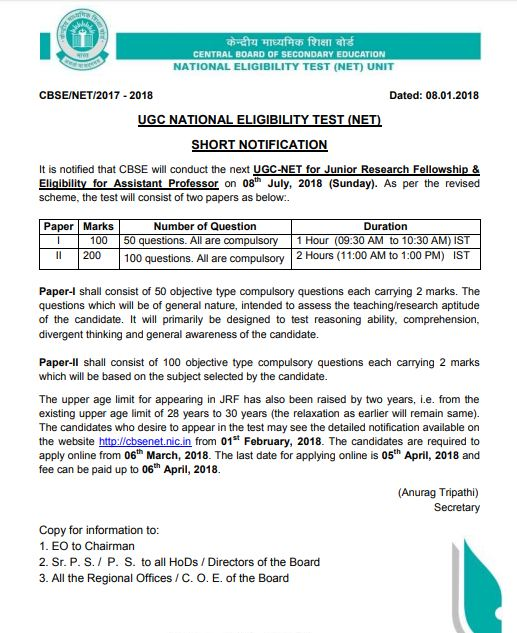 UGC NET 2018 Notification