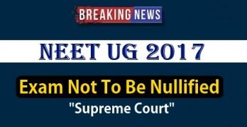 NEET 2017 exam not to be nullified