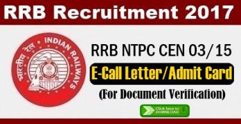 RRB NTPC Admit Card 2017 For Document Verification