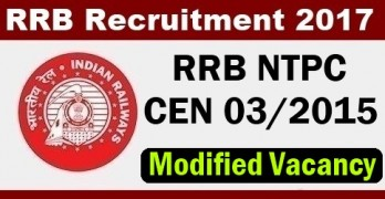 RRB NTPC 03/2015 Modified Vacancy