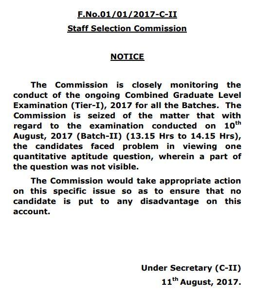 SSC CGL Tier 1 Notice