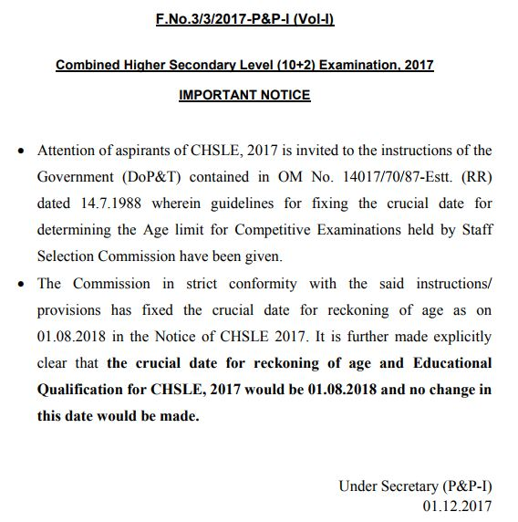 SSC CHSL Exam Notice