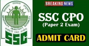 SSC CPO Paper 2 Admit Card