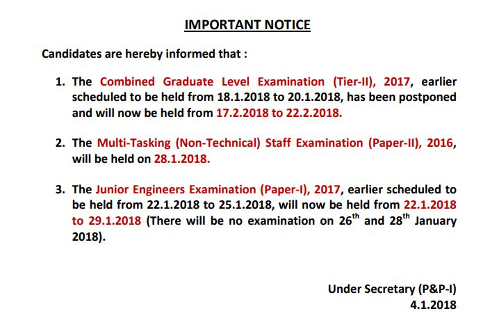 SSC Important Notice