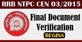 RRB NTPC 2015 Final Document Verification