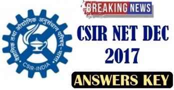 CSIR NET Answer Key December 2017