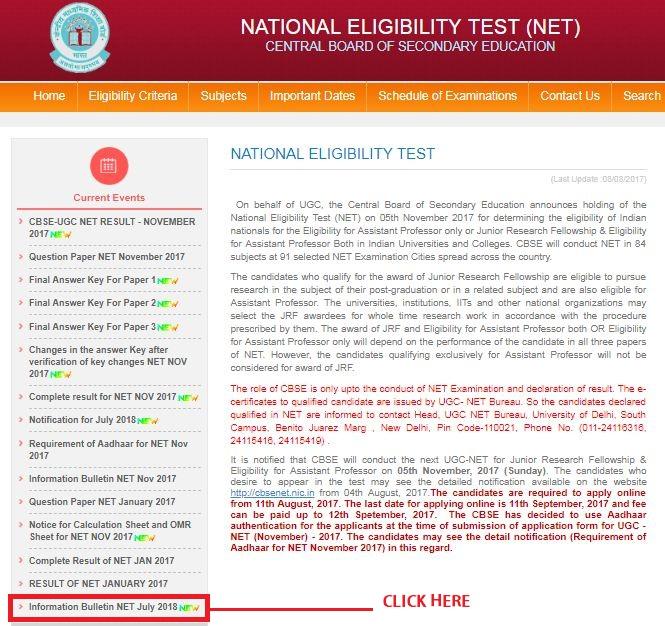 UGC NET July Bulletin