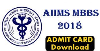 AIIMS MBBS Admit Card 2018