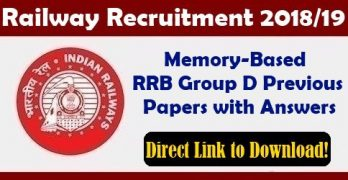 RRB Group D Previous Papers with Solution