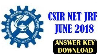 CSIR NET June 2018 Answer Key