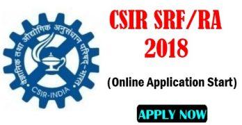 CSIR SRF/RA Online Application 2018