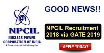 NPCIL Recruitment via GATE 2019