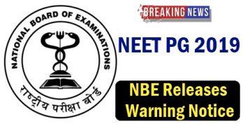 NEET PG 2019 Warning Notice