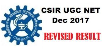CSIR NET Dec 2017 Revised Results