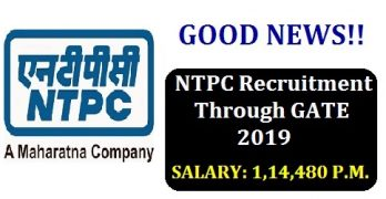 NTPC Recruitment Through GATE 2019