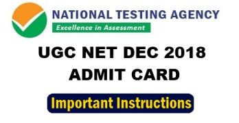 UGC NET Dec 2018 Admit Card