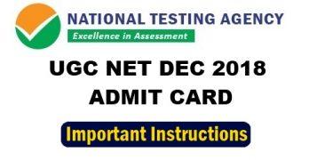 UGC NET DEC 2018 ADMIT CARD