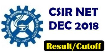 CSIR NET Dec Result 2018