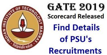 PSU Recruitments Through GATE 2019