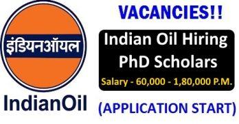 IOCL Hiring PhD Scholars