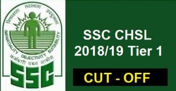 SSC CHSL Tier 1 Cut off 2019