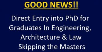 Direct PhD Entry for Grads in Engineering, Architecture & Law