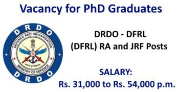 DRDO DFRL Research Associate & JRF Posts