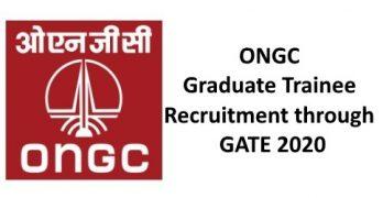 ONGC GT Recruitment Through GATE 2020