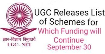 UGC Release List of Schemes 2020