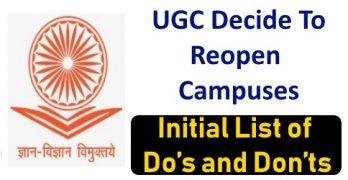 UGC Drafts Plan to Reopen Campuses