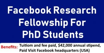 Facebook Research Fellowship For PhD Students